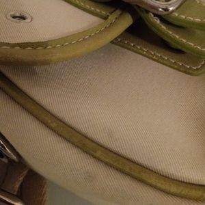 Coach Bags - Coach Green/Cream Messenger Crossbody Canvas Bag